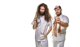 Portrait of two funny doctors - royalty free stock photography