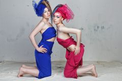 Portrait of two girlfriends: girls with dreadlocks in grotesque dresses of blue and red are on their knees.  royalty free stock photos