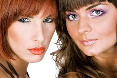 Portrait of a two girls. Portrait of a two beautiful girls royalty free stock photography