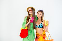 Girls on a beach royalty free stock photography
