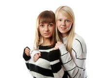 Portrait two girls of the blonde and brunettes Royalty Free Stock Images