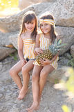 Portrait of two girls of girlfriends Royalty Free Stock Photography