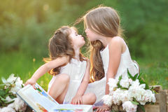 Portrait of two girls of girlfriends Royalty Free Stock Images