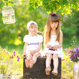 Portrait of two girls of girlfriends Stock Images