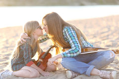 Portrait of two girls of girlfriends Stock Image