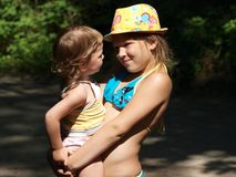Portrait of two girls on a hot summer day stock photography