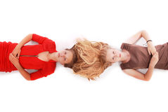 Portrait two girls with intertwined hairs Stock Photo