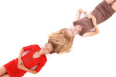 Portrait two girls with intertwined hairs Stock Image