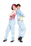 Portrait of two girls in jeans Stock Photos