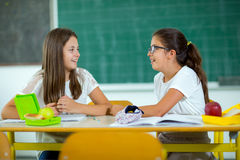 Portrait of two girls in the lunch break at the school Stock Photo