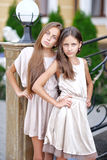 Portrait of two girls in the style Royalty Free Stock Image