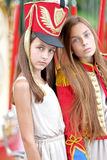 Portrait of two girls in the style Stock Photo