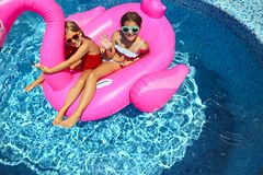 Portrait of two girls wearing sunglasses, happy friends on inflatable flamingo swim float. Enjoying pool party in summer royalty free stock photo