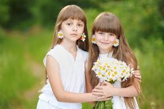 Portrait of two girls. In the woods girlfriends Royalty Free Stock Images