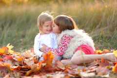 Portrait of two girls in the woods Stock Photos