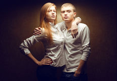 Portrait of two gorgeous red-haired (ginger) fashion twins Royalty Free Stock Photos