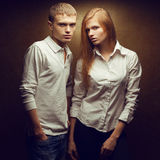 Portrait of two gorgeous red-haired (ginger) fashion twins Royalty Free Stock Photography