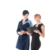 Portrait of two handsome women holding folder with papers Stock Image