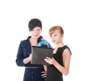 Portrait of two handsome women holding folder with papers. Royalty Free Stock Image