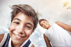 Portrait of a two happy boys Stock Photos