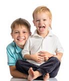 Portrait of two happy brother royalty free stock photography