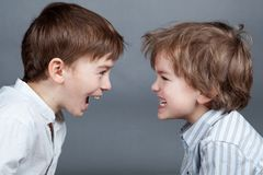 Portrait of two happy brothers on agray background Royalty Free Stock Photos
