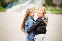 Portrait of two happy children - boy and girl Stock Photography