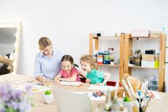 Happy Kids in Art Class royalty free stock photos