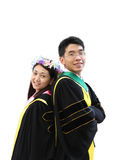 Portrait of two happy graduating asian students Royalty Free Stock Image