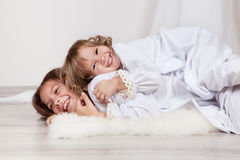 Portrait of two happy sisters, christmas Royalty Free Stock Images