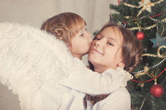 Portrait of two happy sisters, christmas Royalty Free Stock Photography