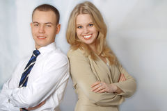 Portrait of two happy young business people Stock Photos