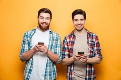 Portrait of a two happy young men royalty free stock photos