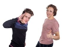 Two friends man take selfie isolated on white background above top view stock photography