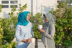Portrait of two hijab  women drinking tea in front of the house and talking stock image