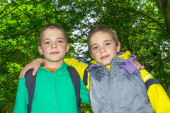 Portrait of two hugging tweens. Portrait of two hugging boys, tweens Royalty Free Stock Photography