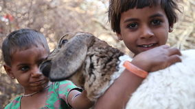 Portrait of two Indian girls, one holding a lamb in her hands. JODHPUR, INDIA - 13 FEBRUARY 2015: Portrait of two Indian girls, one holding a lamb in her hands stock footage