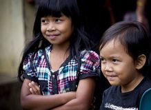 Portrait of two Indonesian children Stock Images
