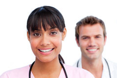 Portrait of two jolly doctors Royalty Free Stock Photography