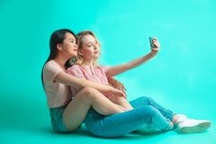 Portrait of a two joyful females taking a selfie while sitting on floor royalty free stock image