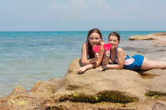Portrait of two kid girls on the seaside Stock Image