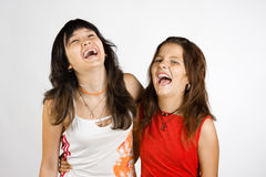 Portrait of two laughing girls. Portrait of two girls, who look like sisters, embracing one another and laughing Royalty Free Stock Photography