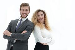 Portrait of two leading specialists of the company. Closeup.portrait of two leading specialists of the company Stock Images
