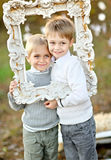 Portrait of two little boys Stock Photos
