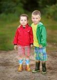 Portrait of two little boys friends. In summer Stock Photo