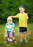 Portrait of two little boys friends Stock Image