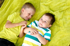 Portrait of two little boys friends Royalty Free Stock Photos