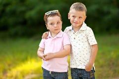 Portrait of two little boys friends. In summer Stock Image