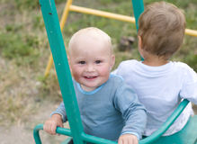 Portrait of two little boys playing Royalty Free Stock Image