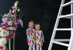 Portrait of two little girls in the beautiful dresses standing among flowers in studio Royalty Free Stock Photo